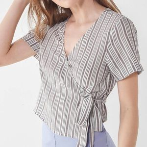 UO striped wrap crop top